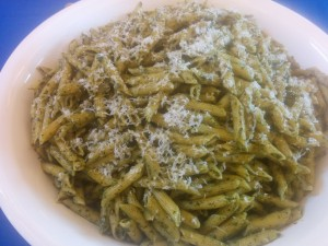 Penne Pasta with Pesto and Parmesan