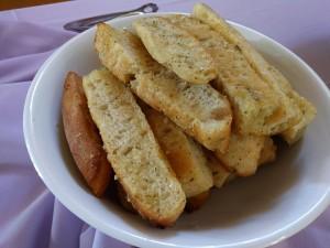Garlic bread at dinner