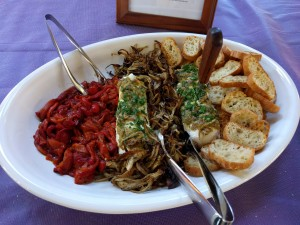 Goat cheese platter with fennel and peppers
